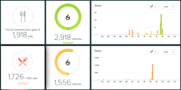 An active vs non-active day on Fitbit. The level of activity determines my calorie goal, in real time.